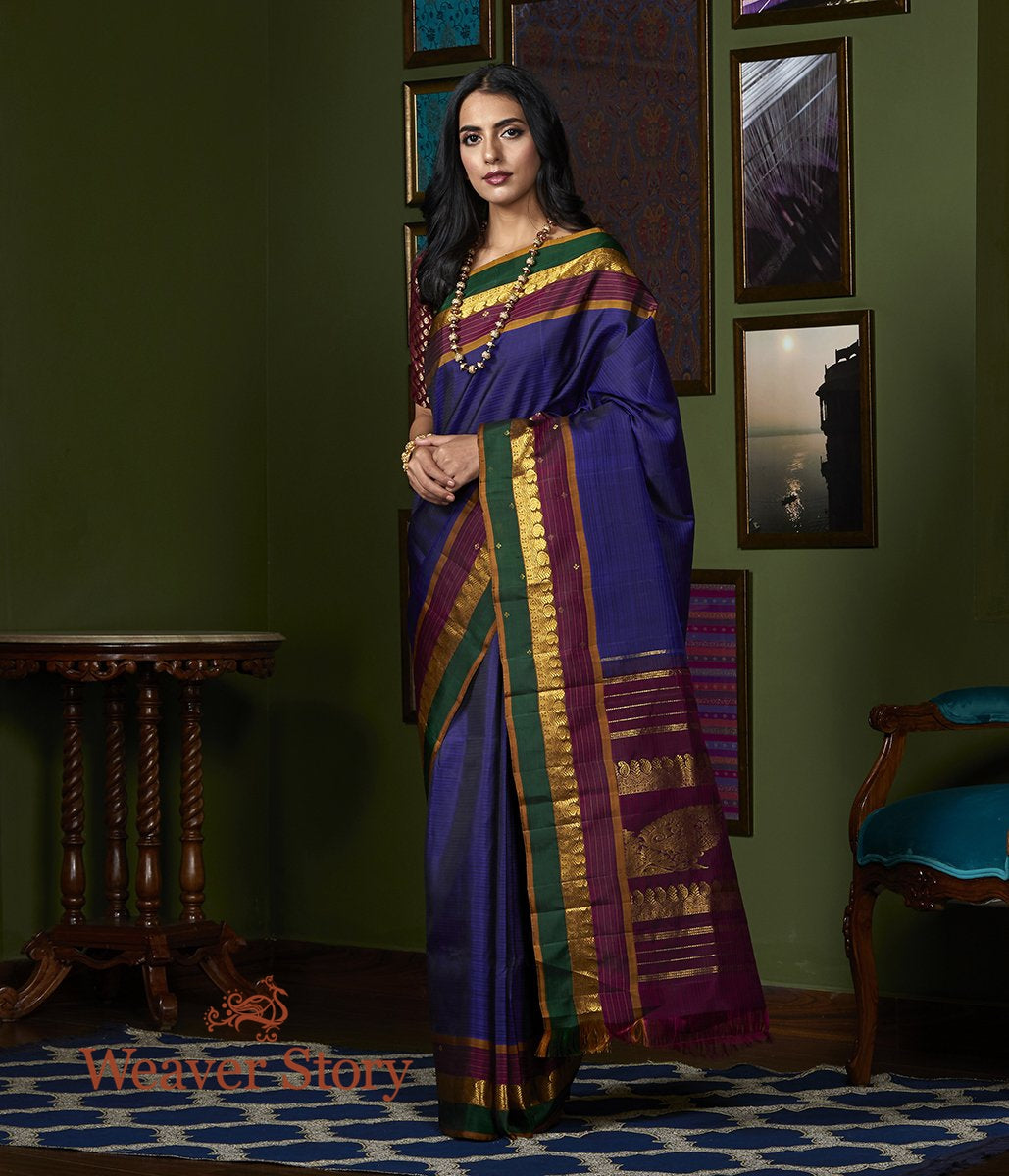 Handwoven Purple Kanjivaram Silk Saree with Wine and Green Border