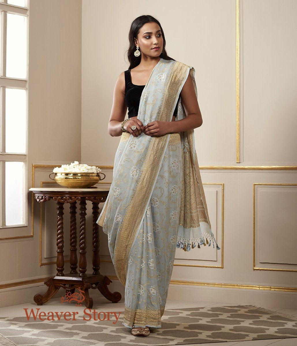 Handwoven Powder Blue Banarasi Georgette Saree