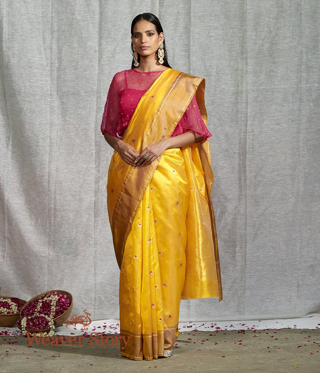 Handwoven Yellow Gold Saree with Small Floral Booti