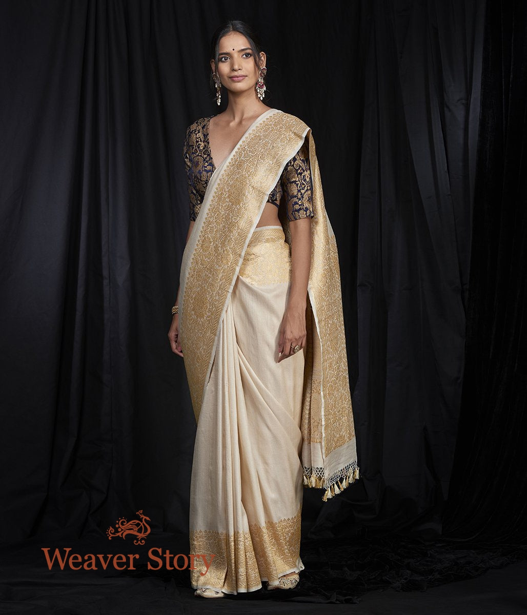 Handwoven Plain Tusser Georgette Saree with Heavy Border