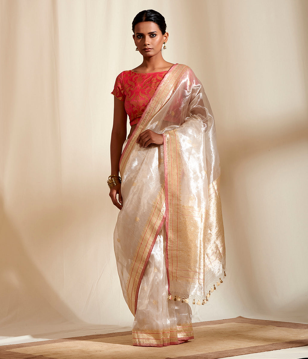 Offwhite pure tissue banarasi saree with kadhwa booti