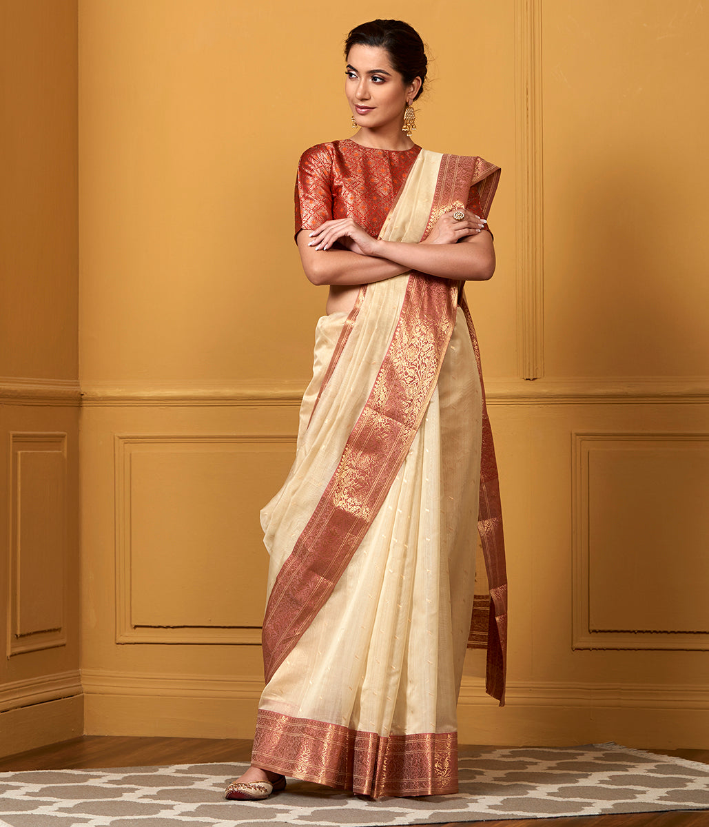 Handwoven Beige and Rose Pink Cotton Silk Saree with Nakshi Booti