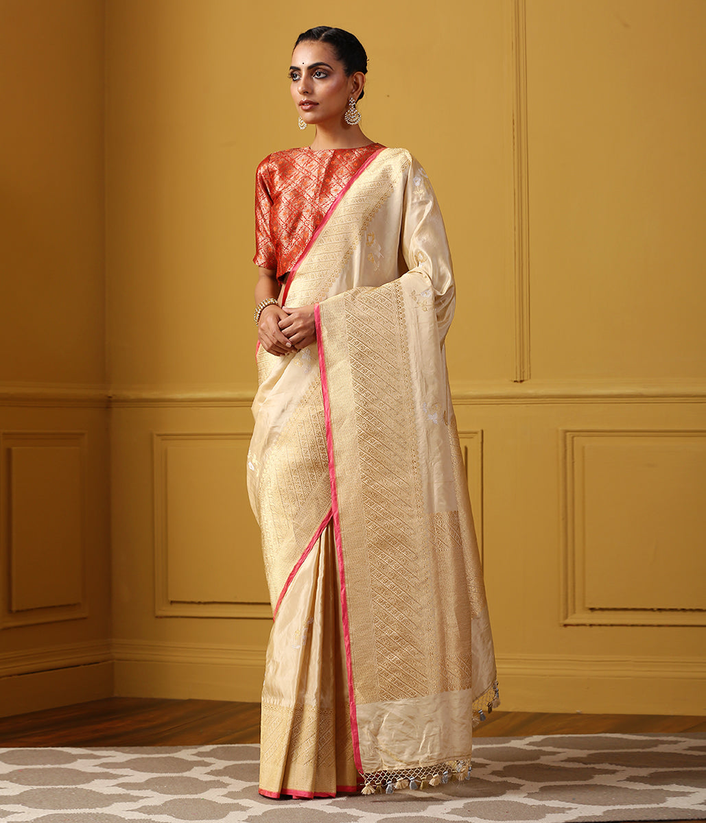 Handwoven Gold Silk Tissue Saree with Twin Leaf Motifs