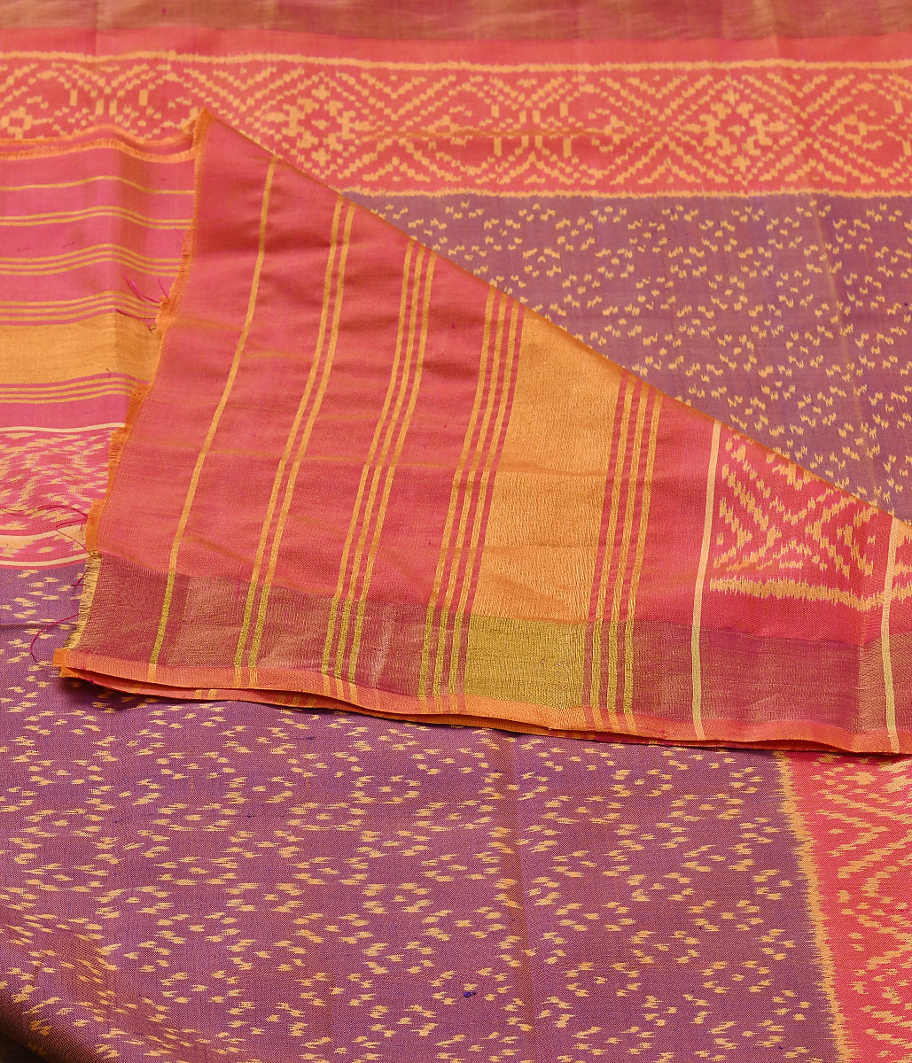 Handwoven Purple and Peach dual tone single Ikat Patola Dupatta