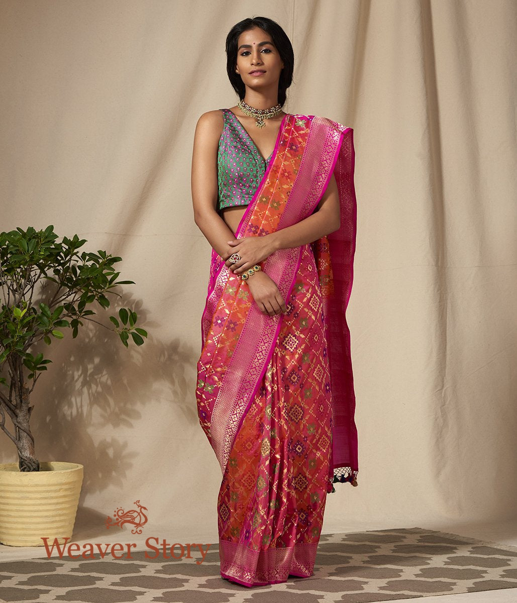 Handwoven Orange Pink Meenakari Banarasi Patola Saree