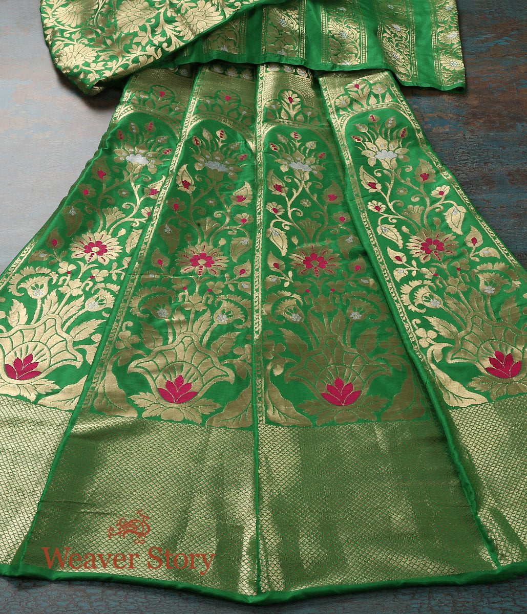 Handwoven Green Banarasi Lehenga with Meenakari