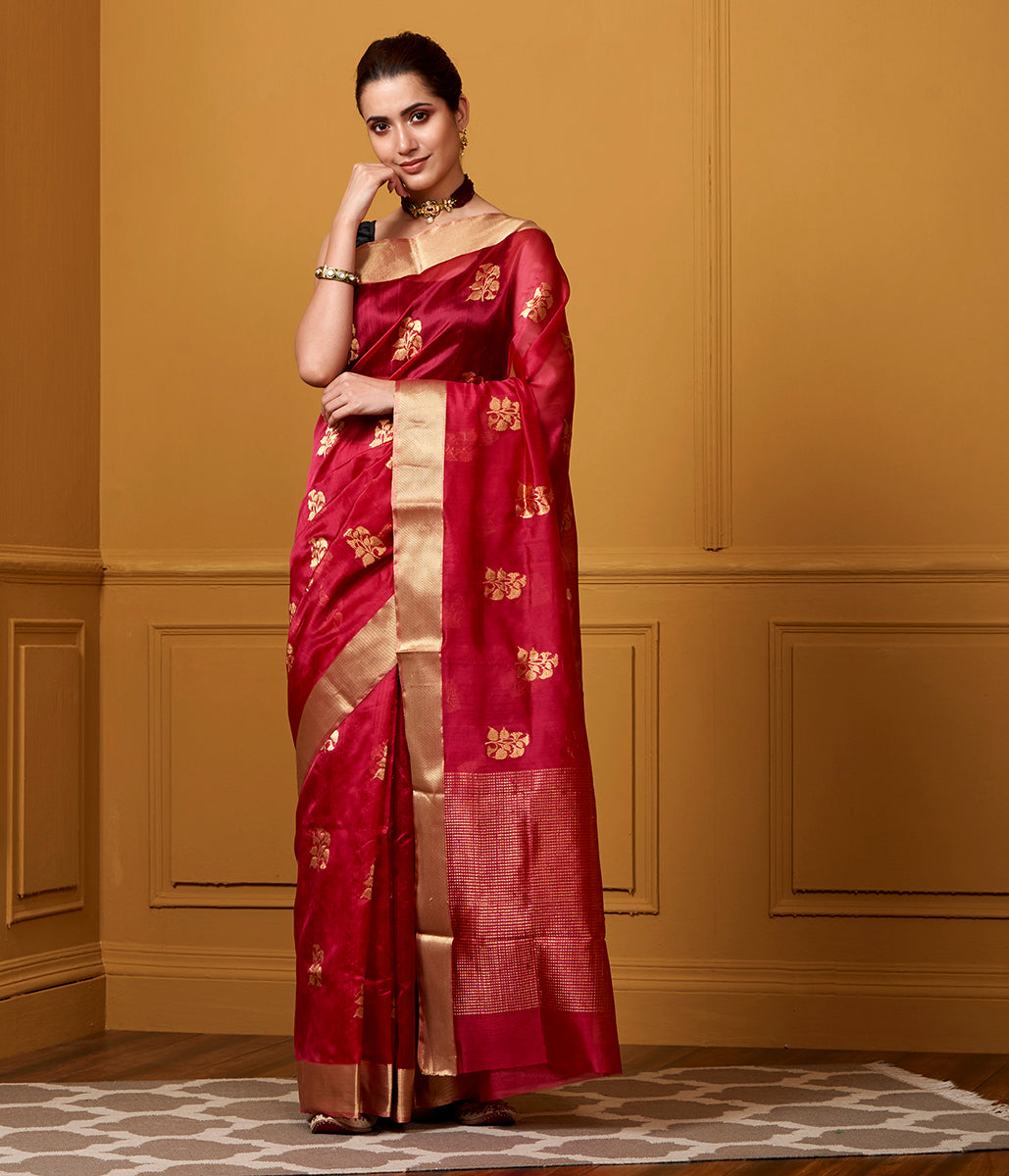 Handwoven Red Floral Boota Saree with Gold Zari Border