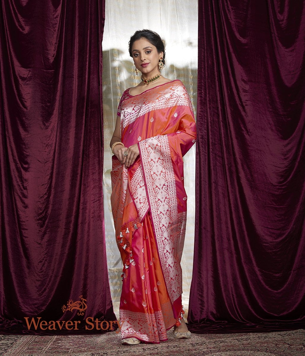 Handwoven Orange Pink Kadhwa Boota Saree with Silver Zari