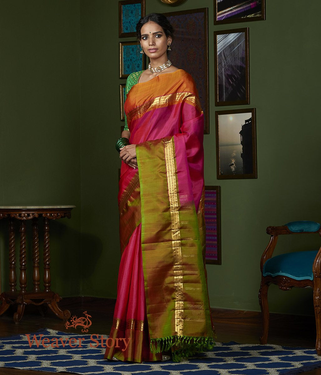 Handwoven Pink Kanjivaram Silk Saree with Green and Orange Broad Borders