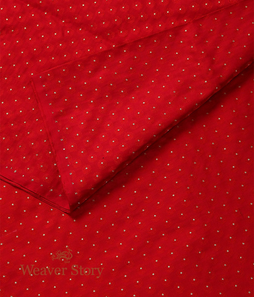 Handwoven Red Zari Booti Tanchoi Fabric