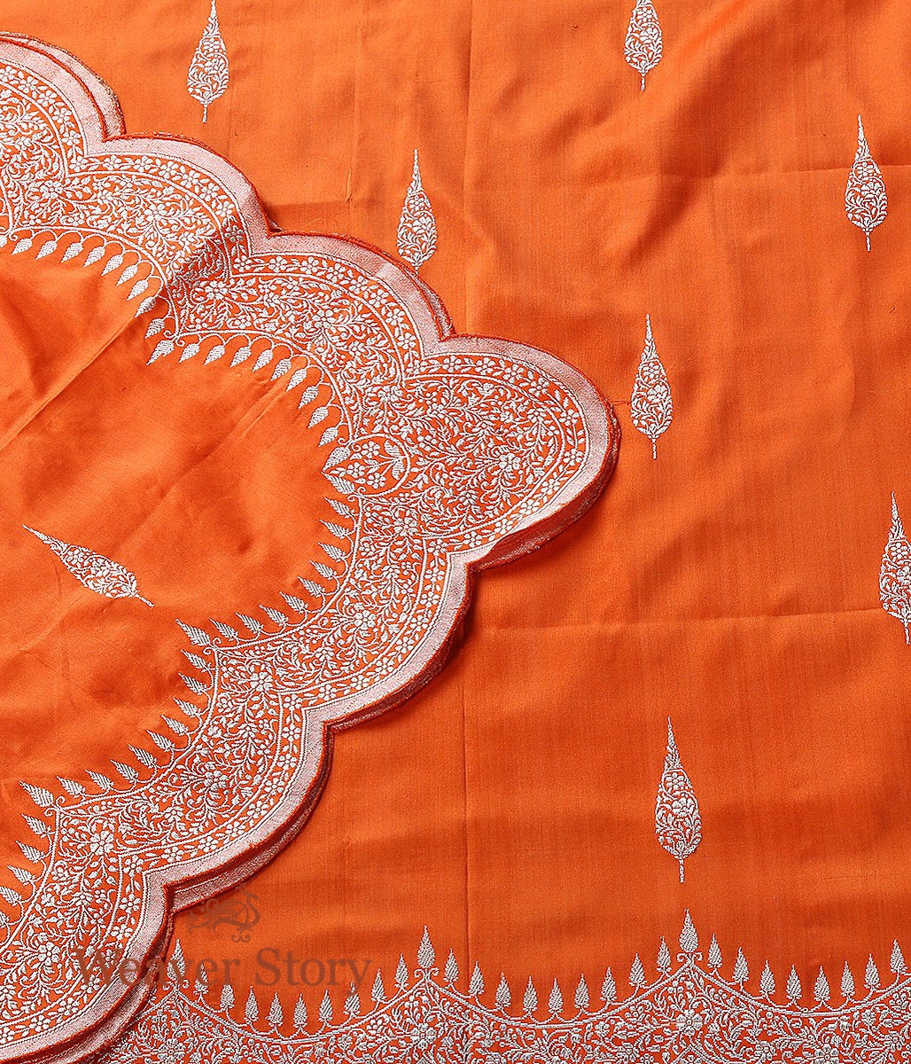 Handwoven Orange Banarasi Dupatta with Scalloped Borders
