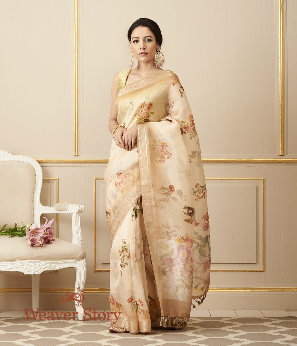 Handwoven Beige Organza Silk Saree with Digital Print