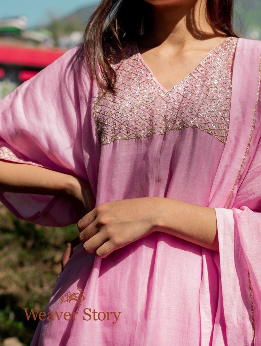Pink Handwoven Mul Chanderi Kurta with Hand Embroidery, Cotton Trousers and Dupatta