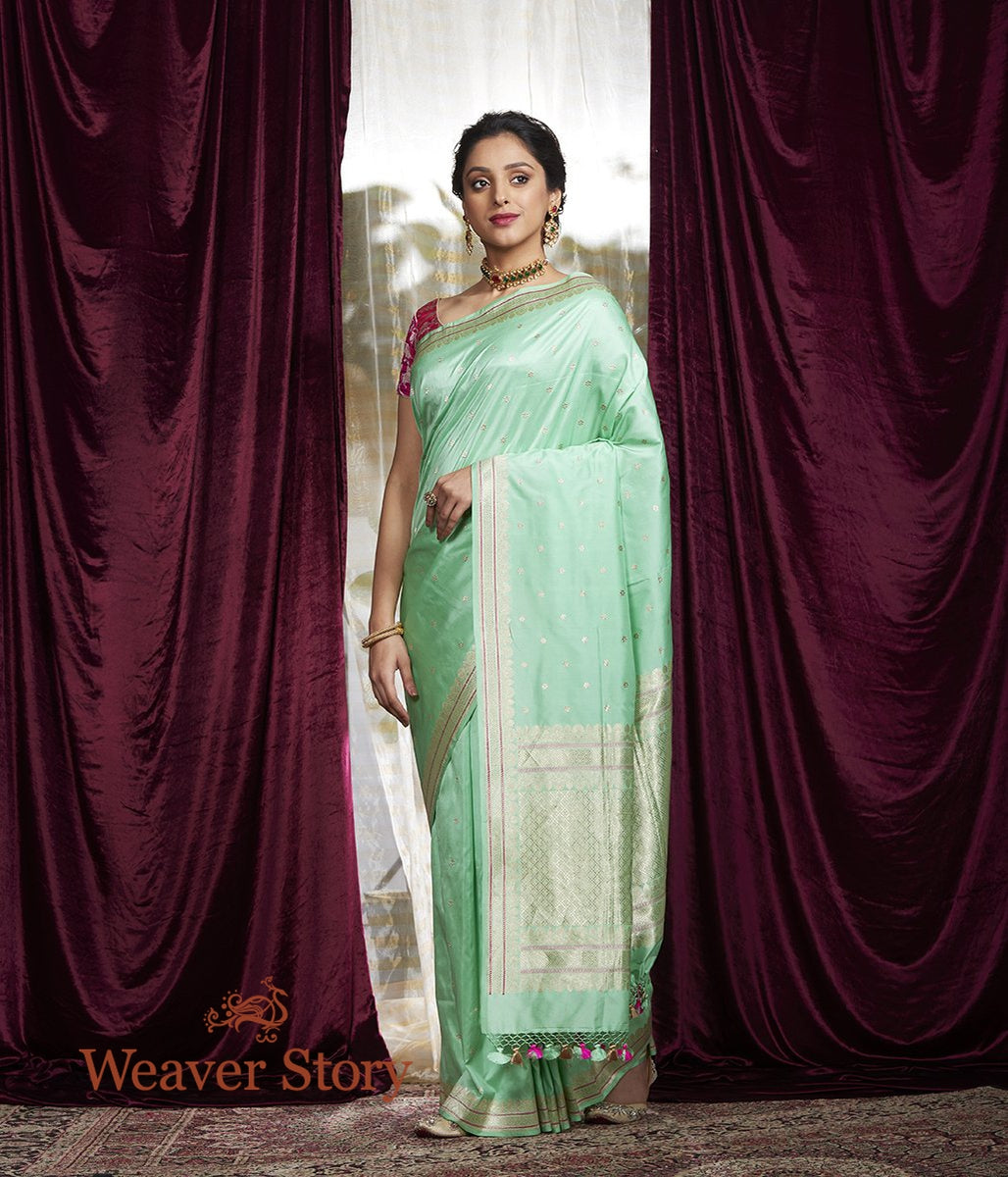 Handwoven Light Green Kadhwa Booti Saree