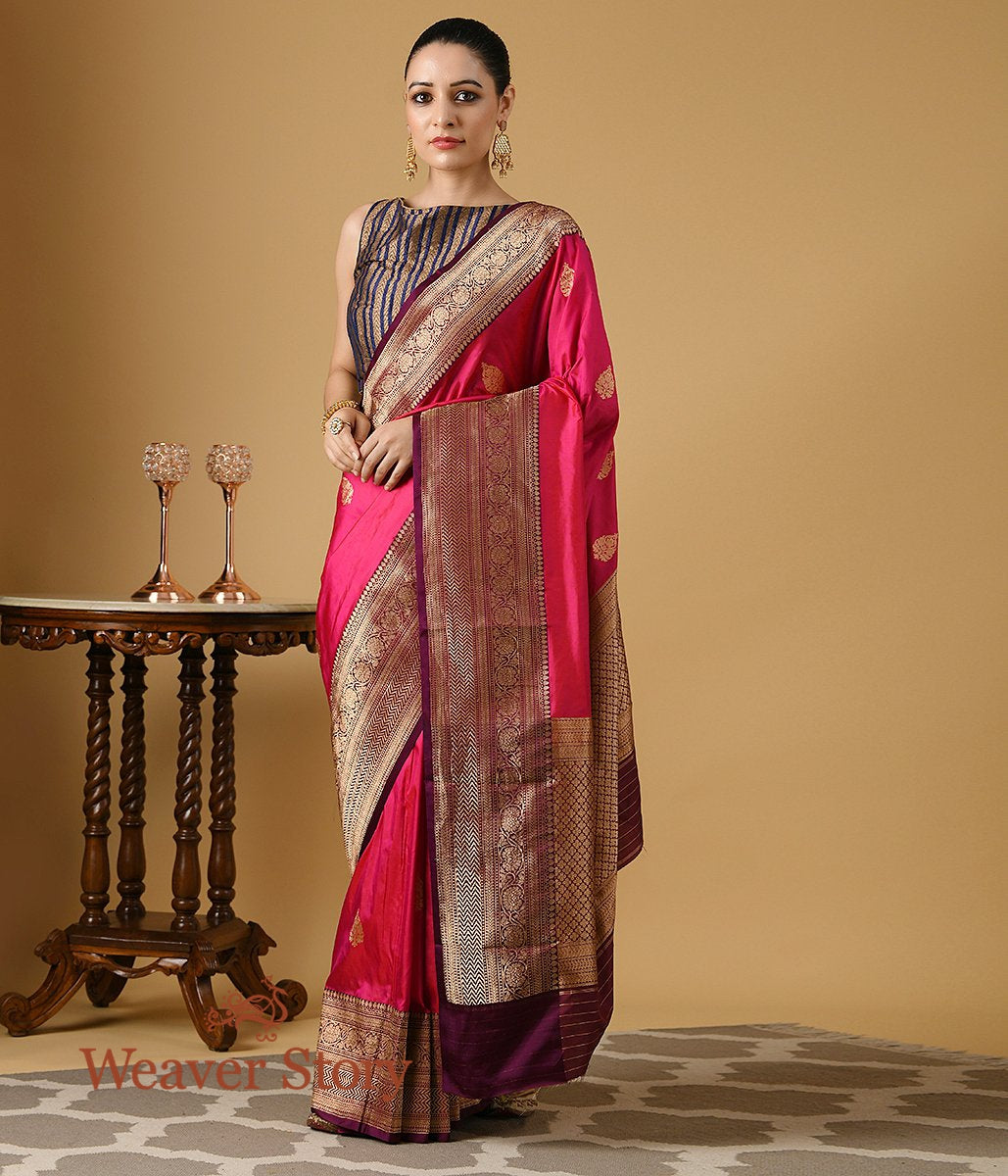 Handwoven Pink Katan Silk Banarasi with Wine Border and Pallu