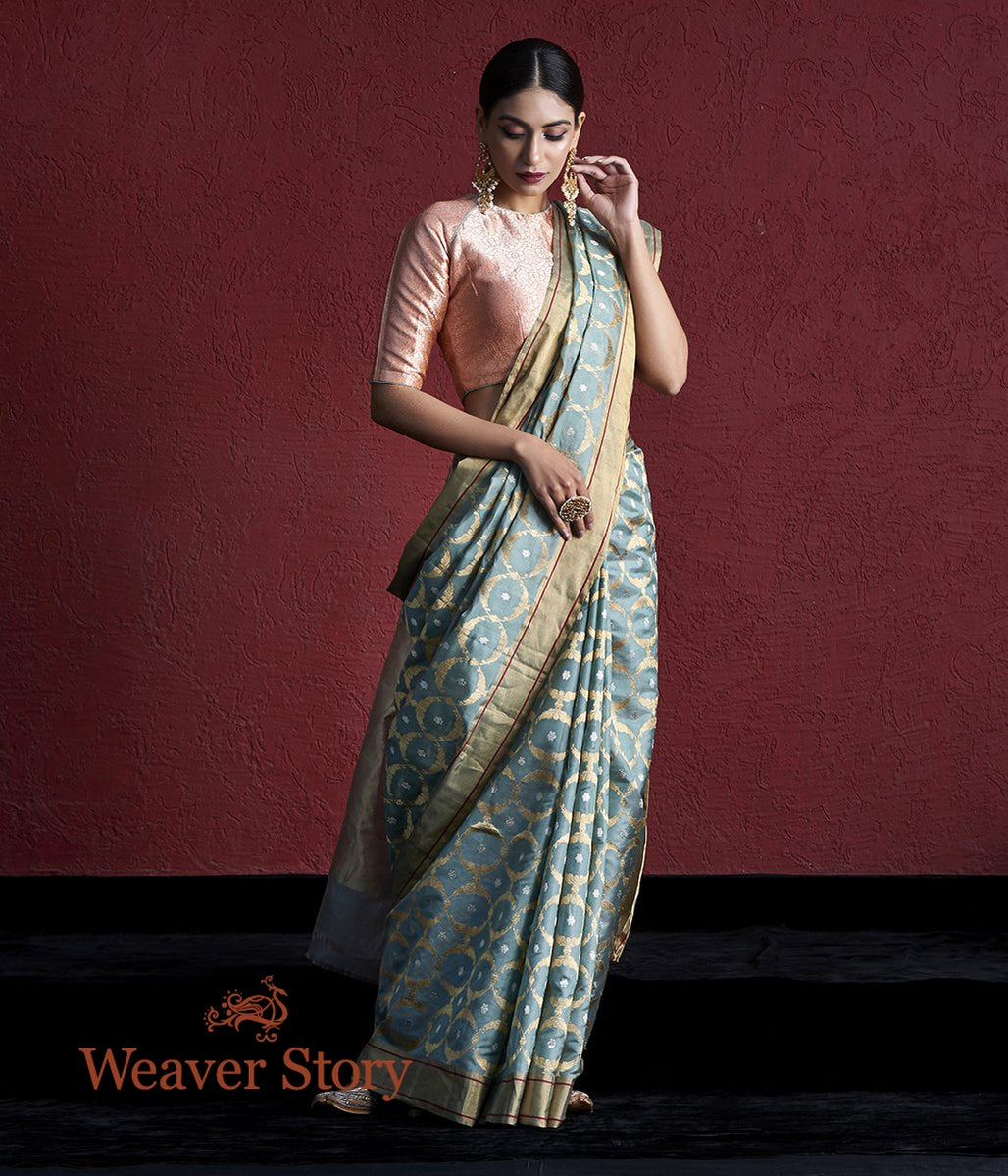 Handwoven Duck Egg Blue Chanderi Silk Saree with Zari Jaal