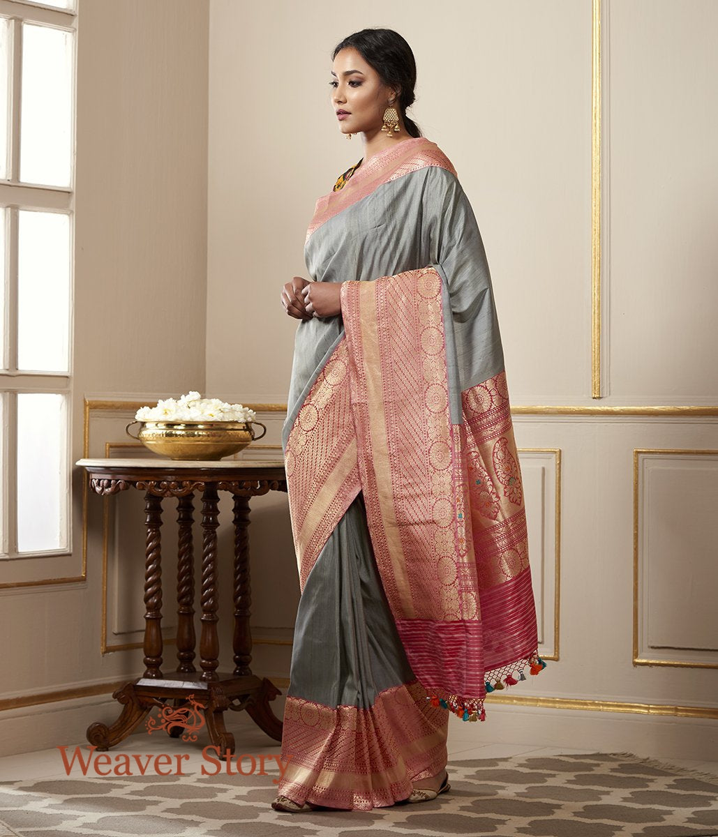 Handwoven Grey Tusser Silk Banarasi with Pink Border and Pallu