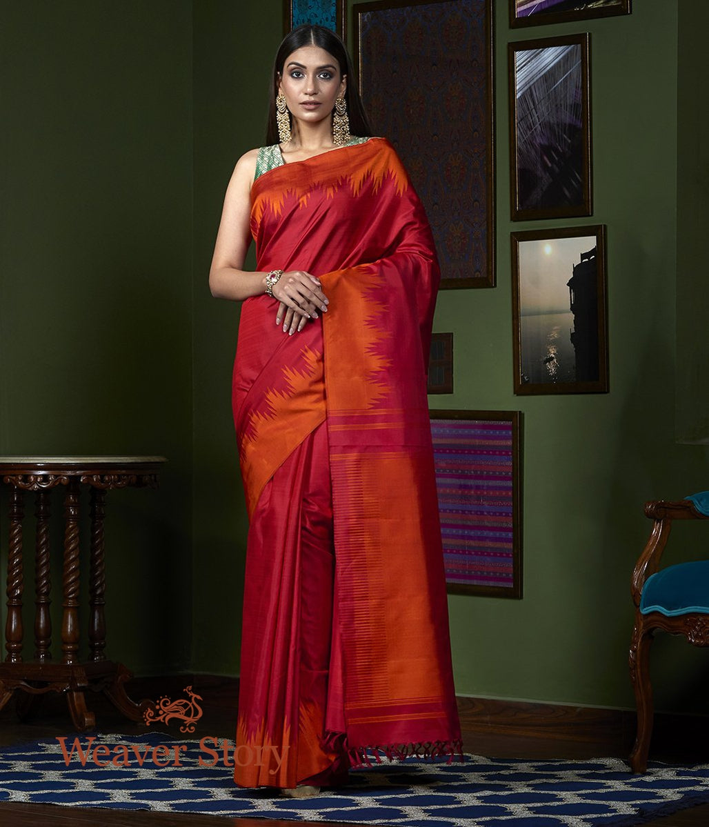 Handwoven Red Kanjivaram Saree with Orange Twill Weave Temple Border