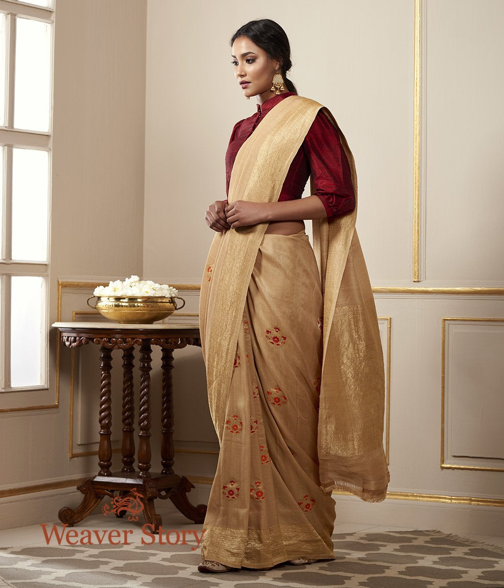 Handwoven Beige Tusser Georgette Saree with Meenakari Boota