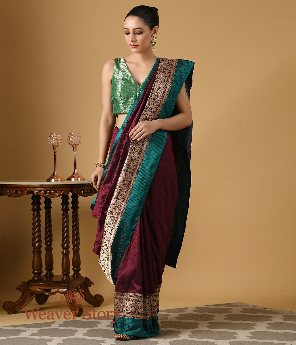 Handwoven Wine Banarasi Tanchui Saree with Teal and Gold Border