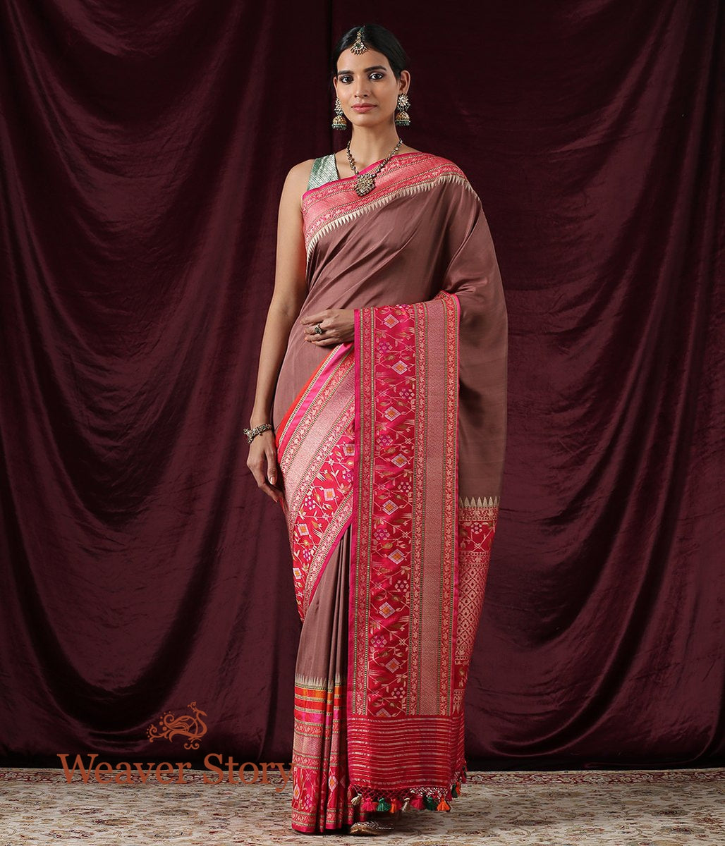 Handwoven Chocolate Brown Ektara Saree with Pink Kadhiyal Border