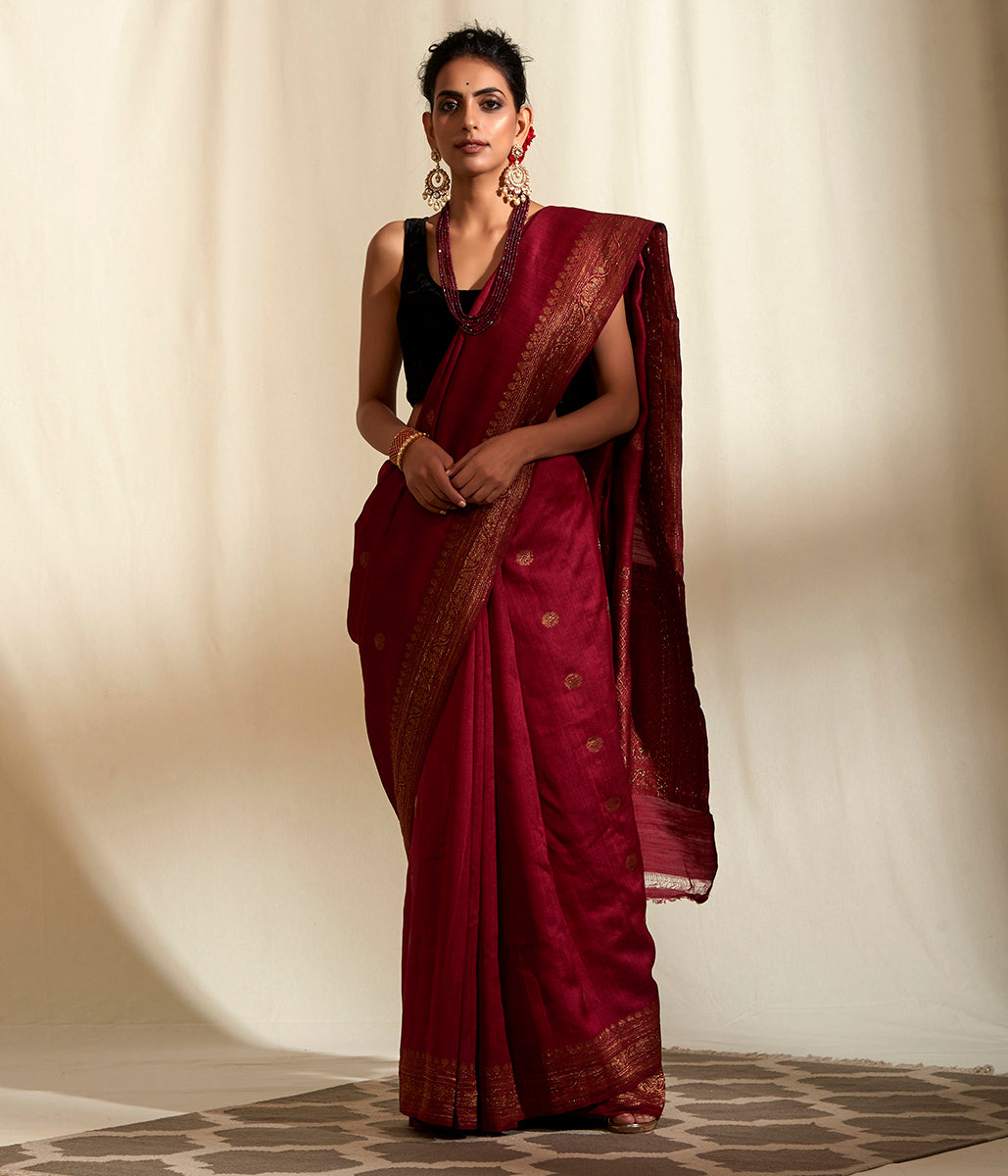 Handwoven Mahroon Munga silk Banarasi with Meena Booti Saree