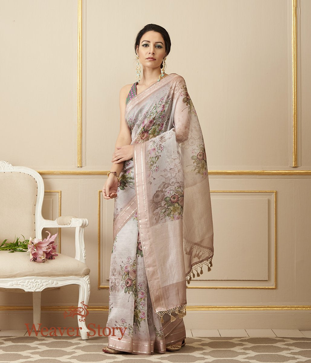 Handwoven Soft Pink Organza Silk Saree with Digital Print