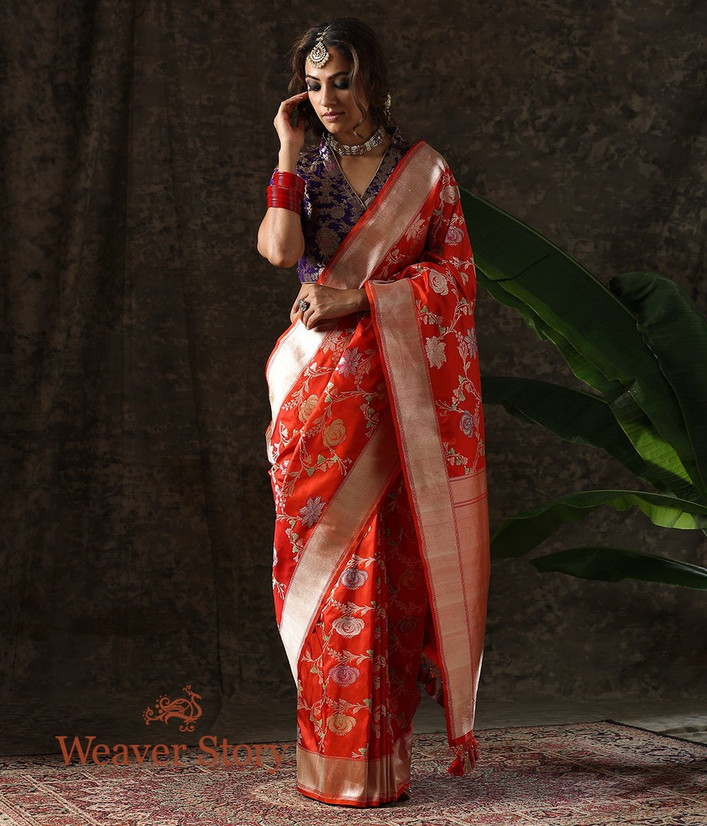 Handwoven Red Kadhwa Jangla Saree with Meenakari Flowers