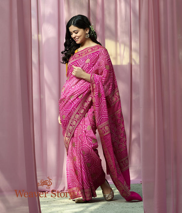 Handwoven Pink Ombre Dyed Bandhej Saree