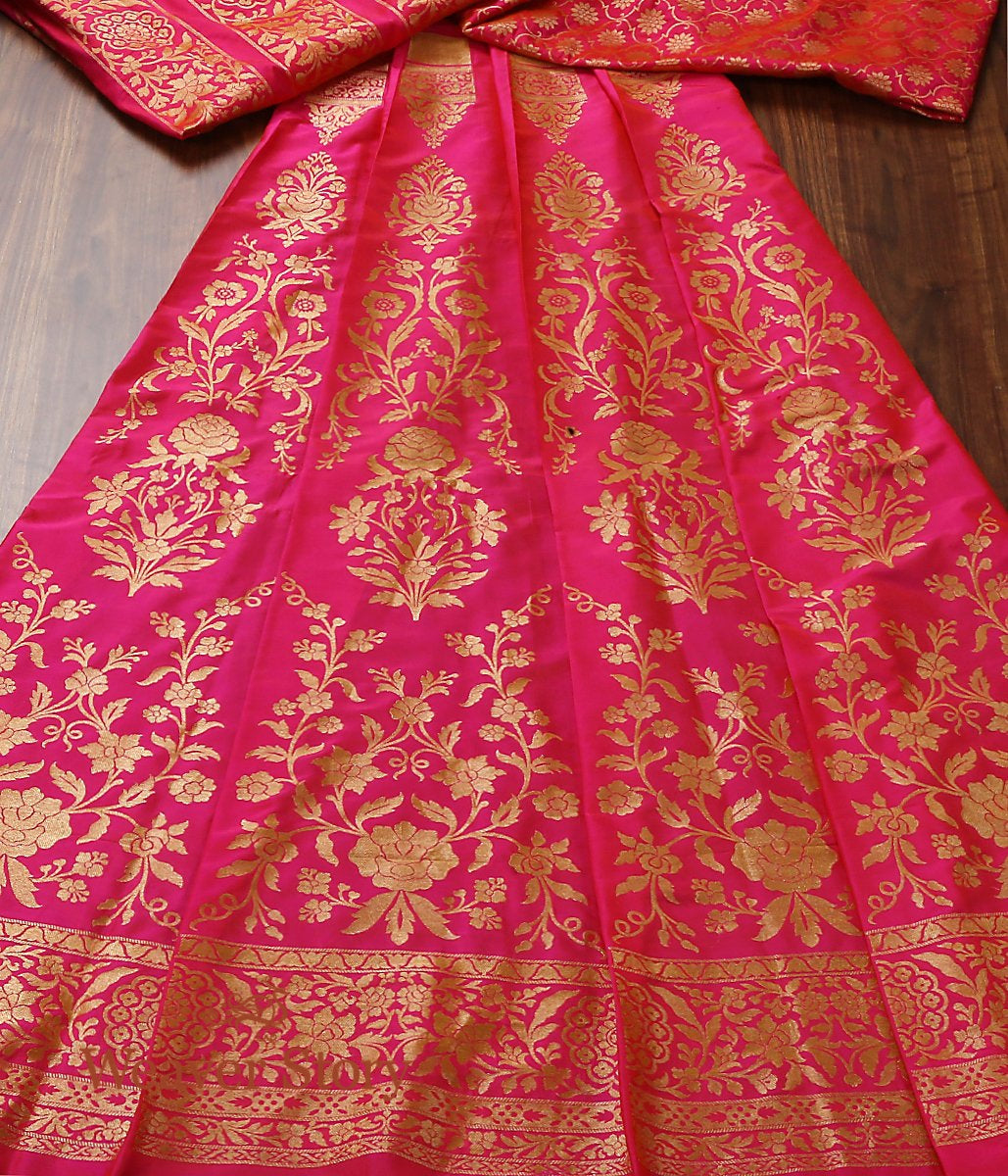 Handwoven Banarasi Hot Pink Lehenga with Gold Zari Floral Jaal