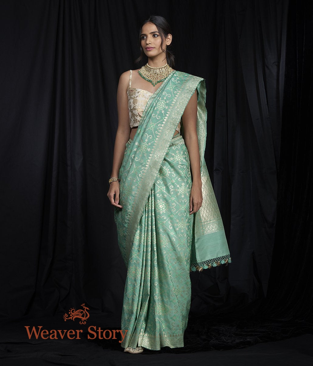 Handwoven Green Tusser Patola Saree