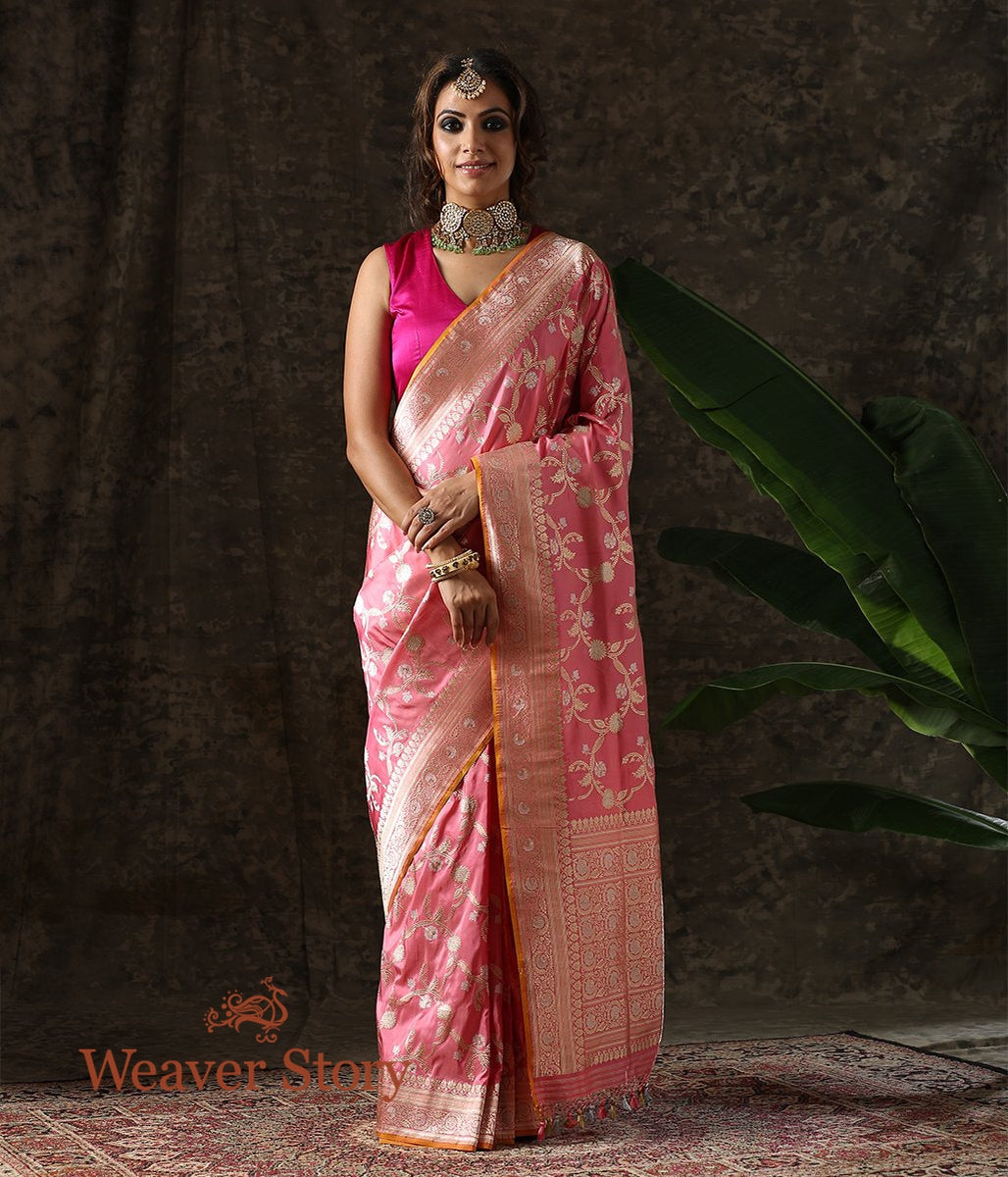 Handwoven Light Pink Sona Rupa Jangla Saree
