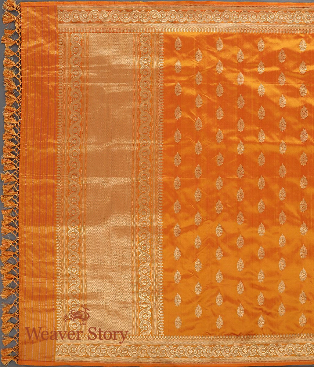 Handwoven Golden Yellow Kadhwa Booti Dupatta