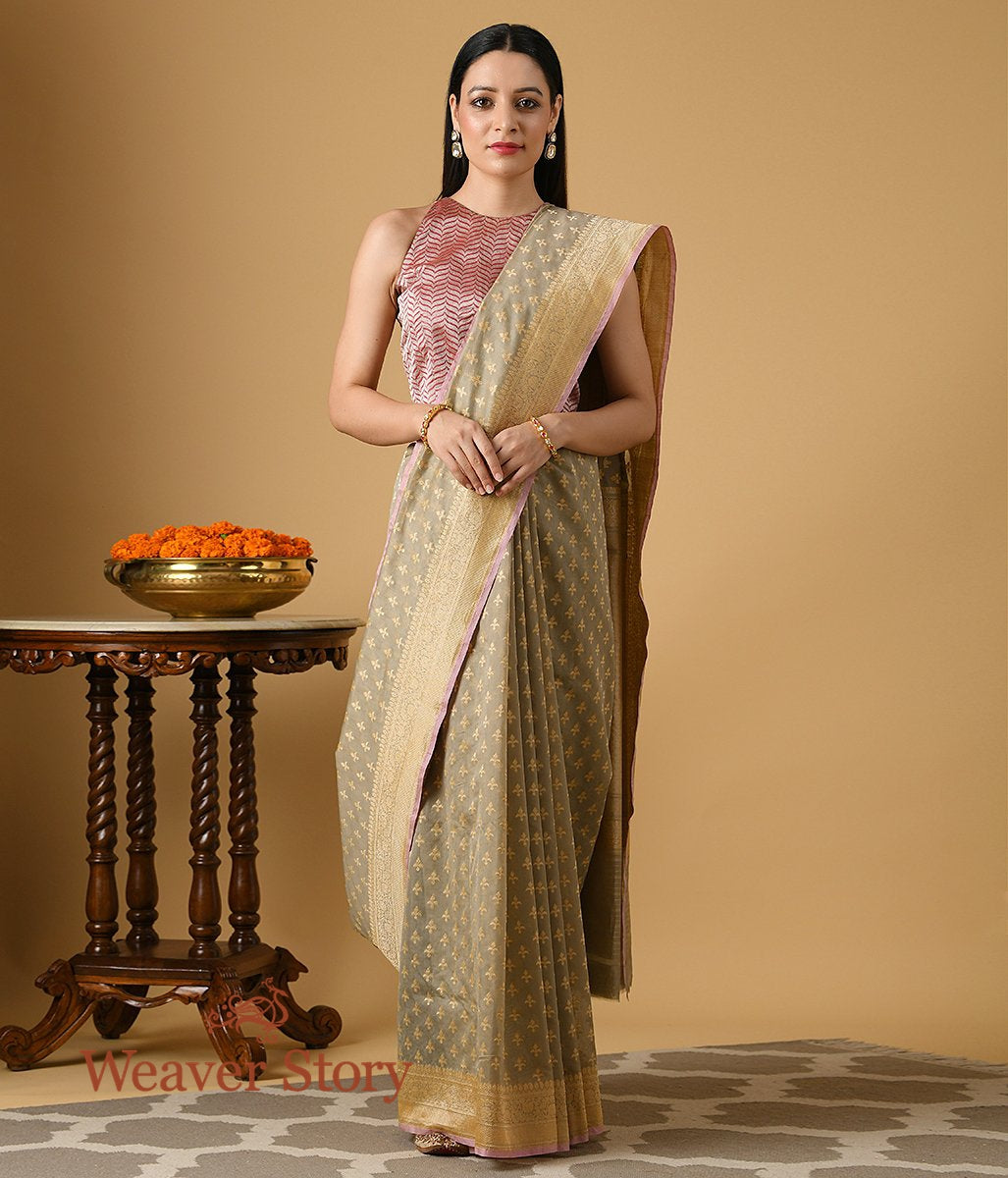 Handwoven Beige and Grey Banarasi Cotton Saree with Thread Booti