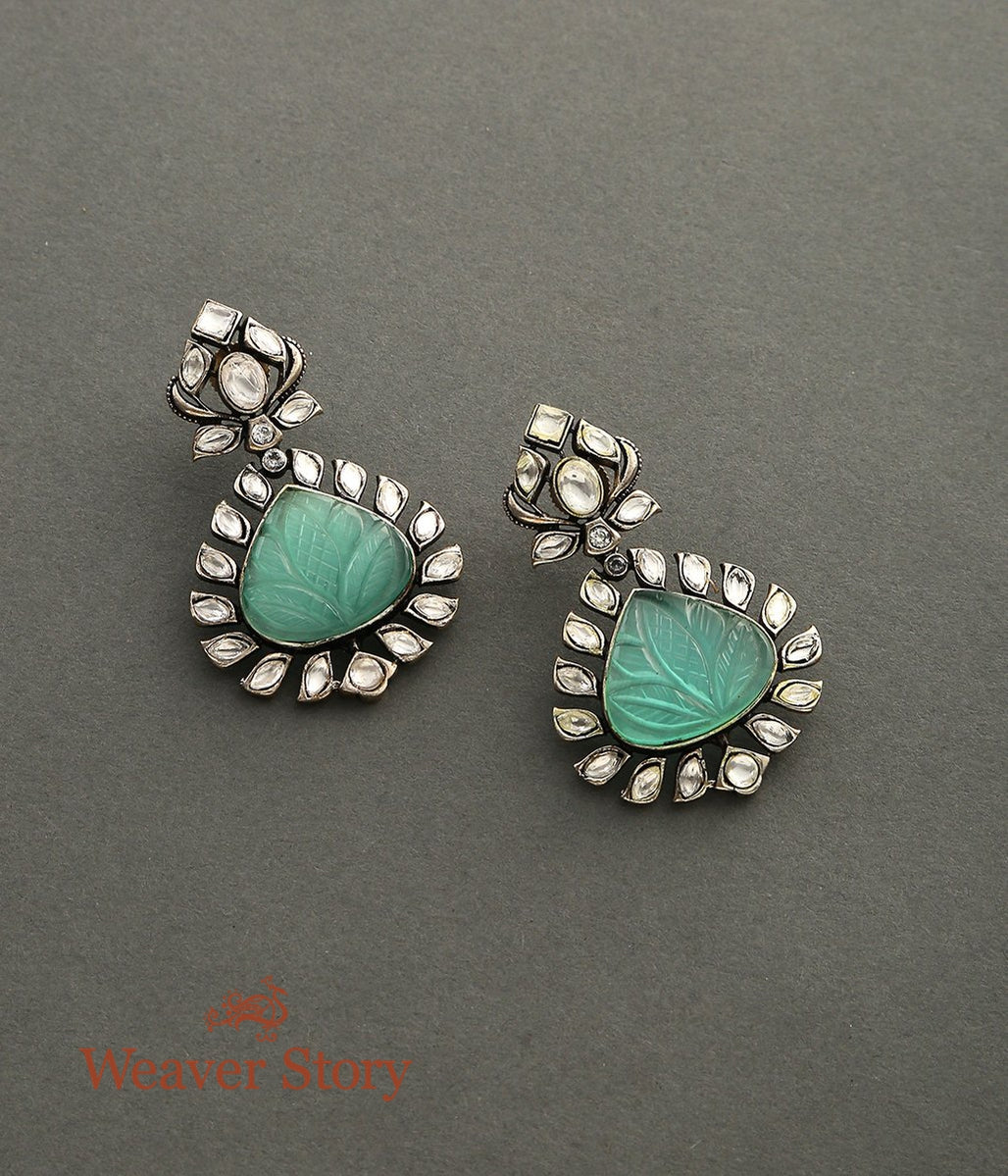 Silver Finish Earrings with Kundan and Carved Stone