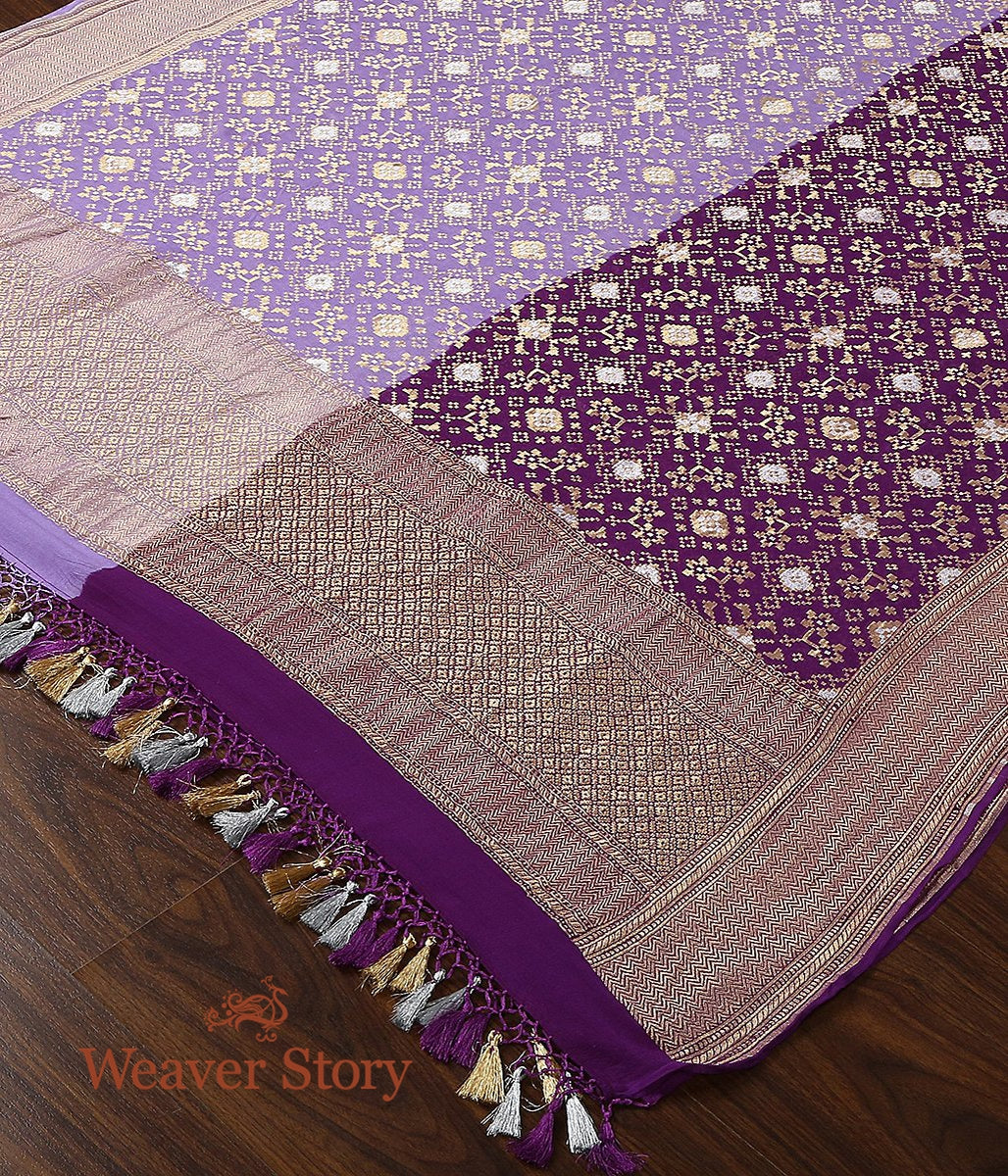 Handwoven Banarasi Georgette Cutwork Dupatta in Dual Shade of Plum and Lavender