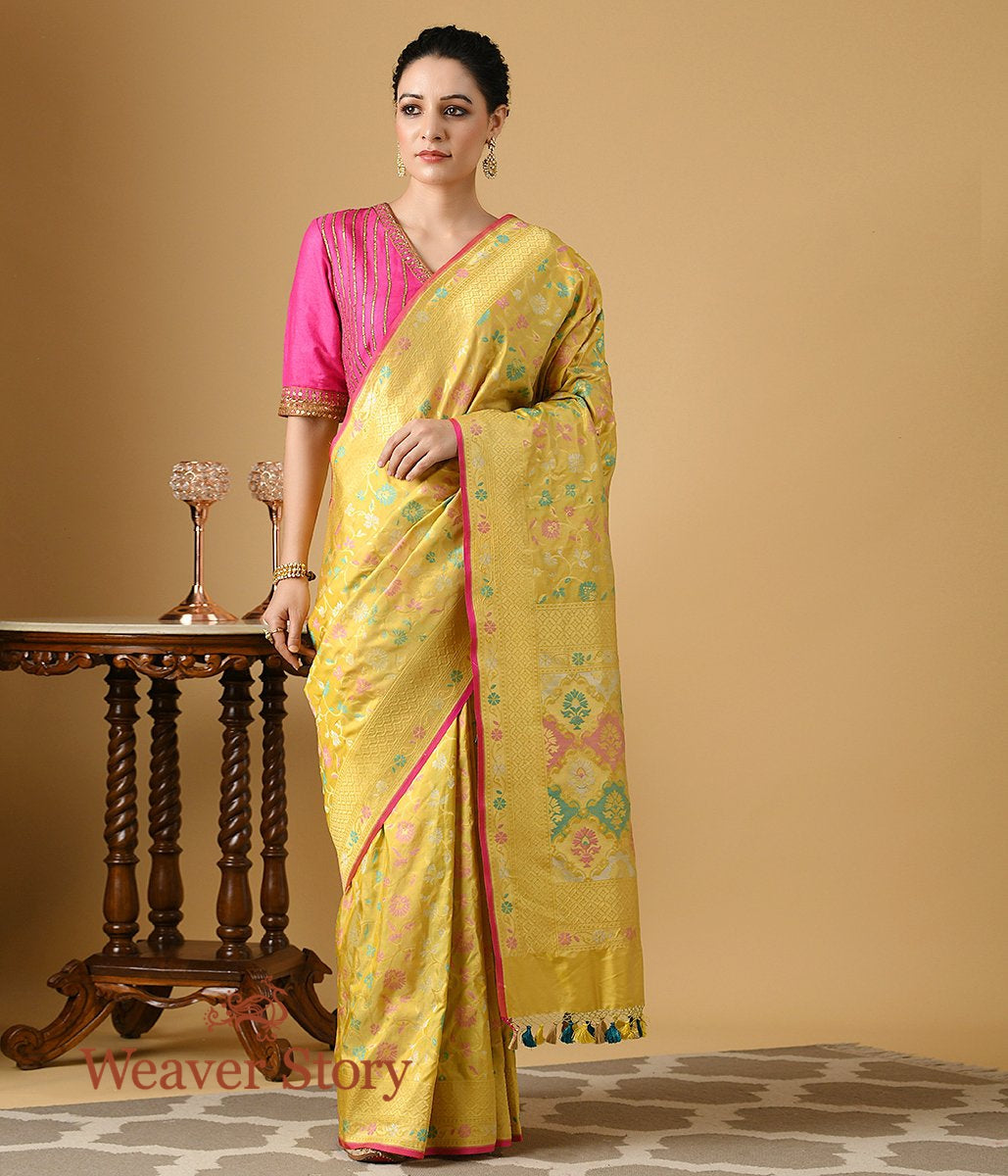 Handwoven Lemon Multicolor Cutwork Patola Saree
