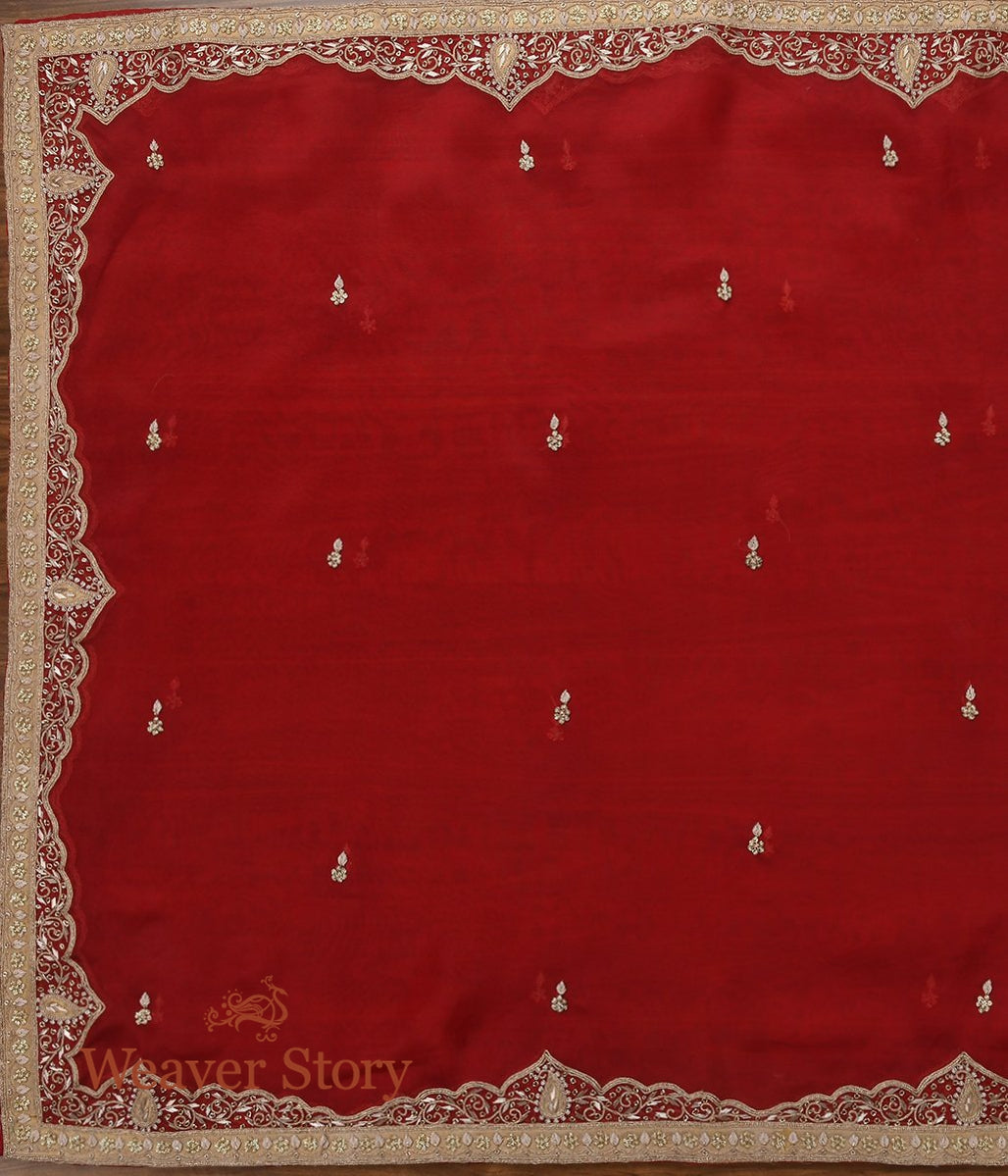 Red Zardozi Dupatta with Mughal Border