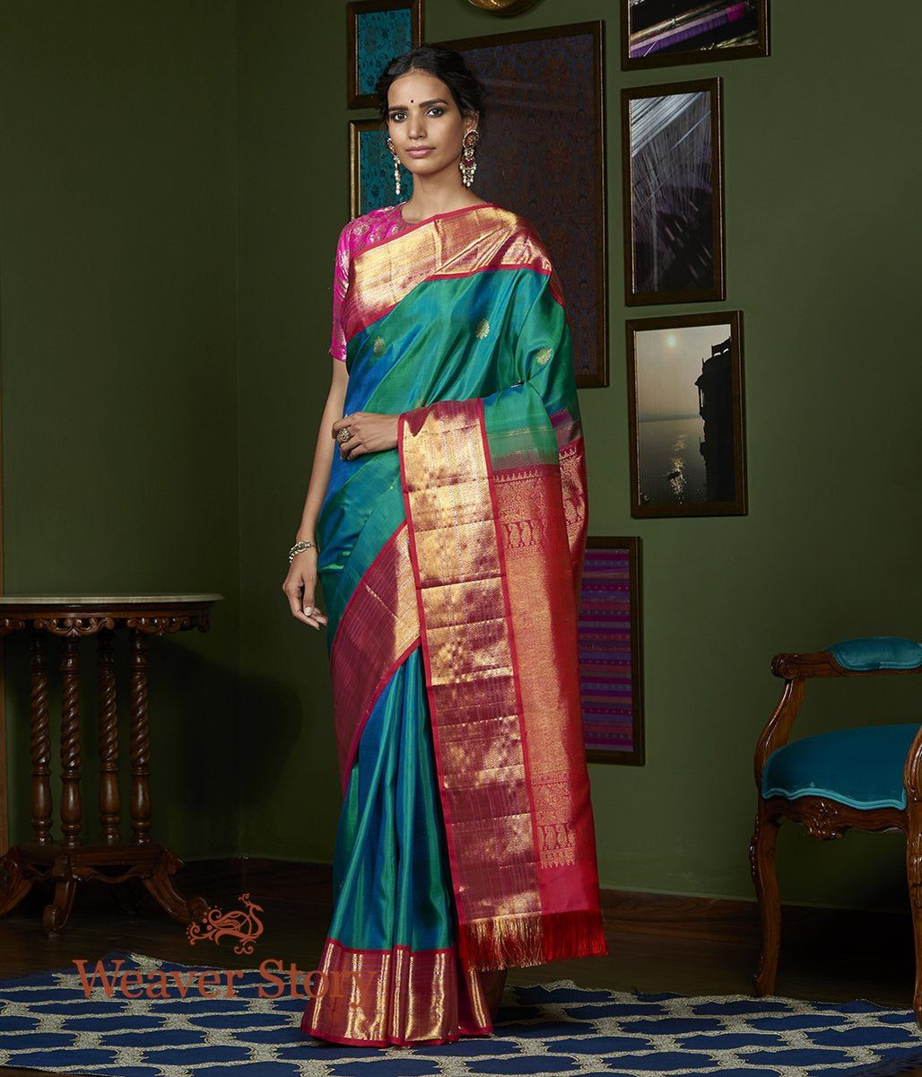 Handwoven Green Kanjivaram Silk Saree with Pink Border