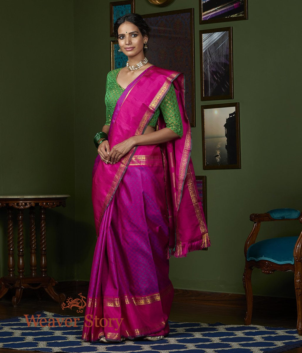 Handwoven Pink and Purple Self Checks Kanjivaram Silk Saree with Pink Broad Border