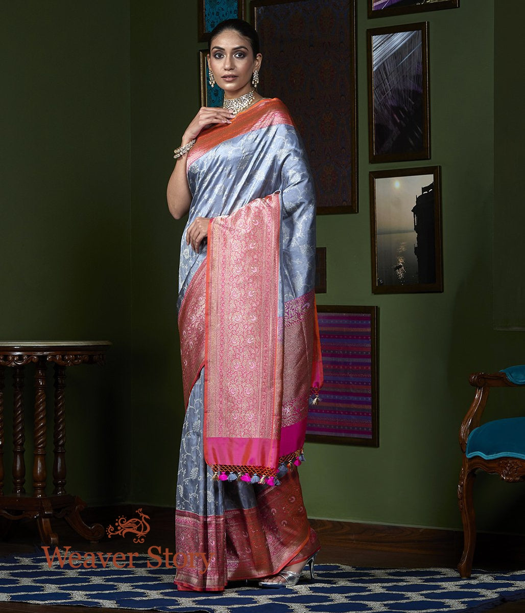 Handwoven Grey Tissue Saree with Peach Border