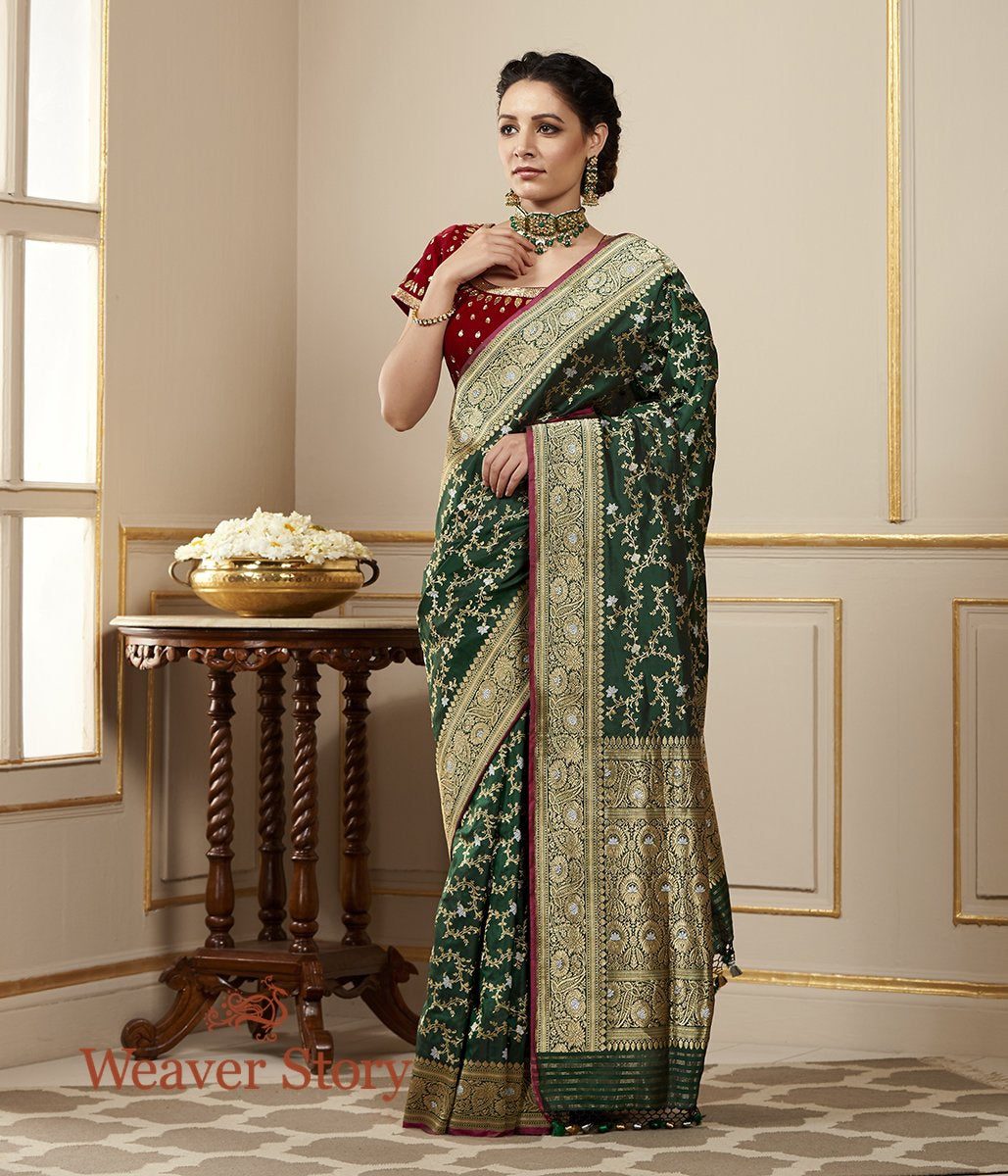 Handwoven Bottle Green Kadhwa Jangla Saree with Red Selvedge
