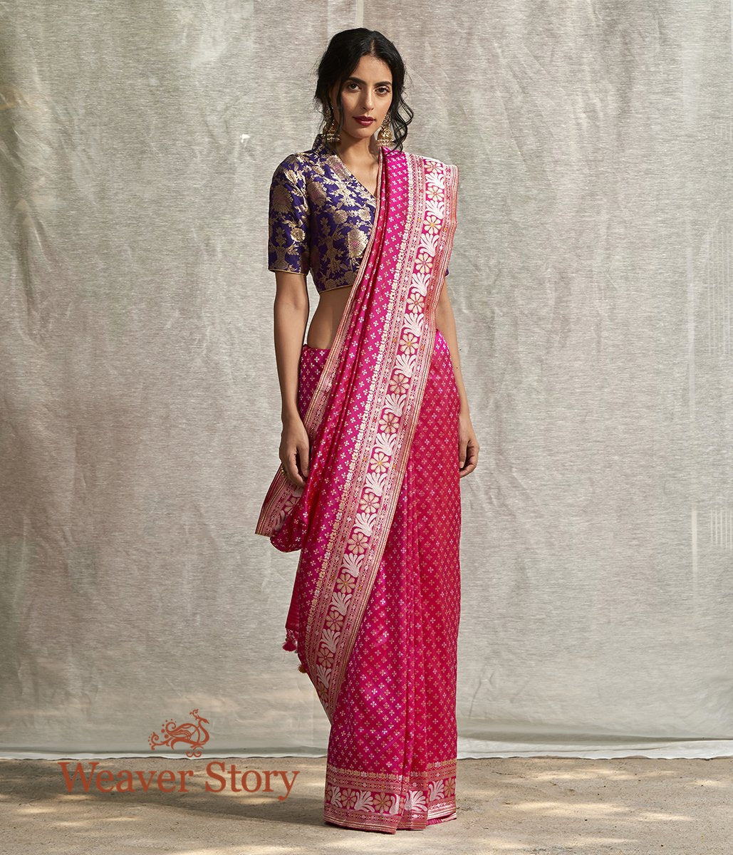 Handwoven Pink Sona Rupa Zari Booti Saree with Floral Border