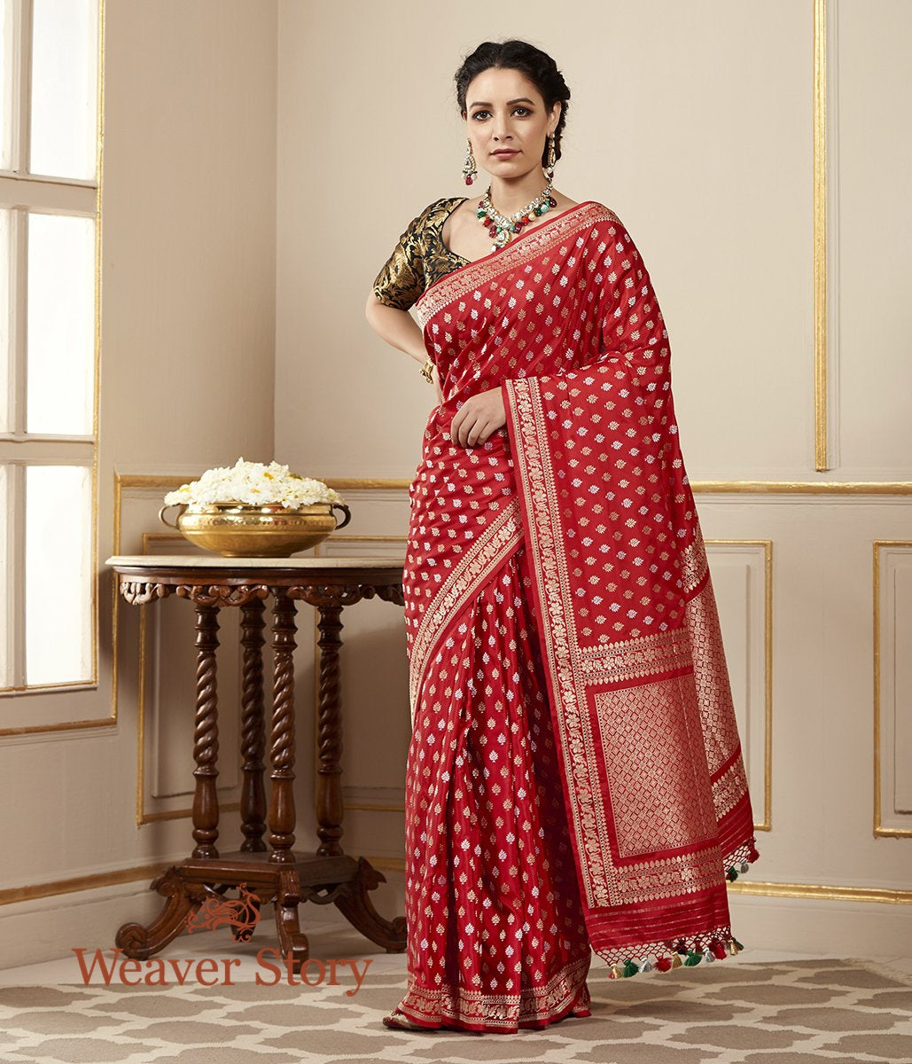 Handwoven Red Banarasi Saree with Kadhwa Booti Woven in Sona Rupa Zari