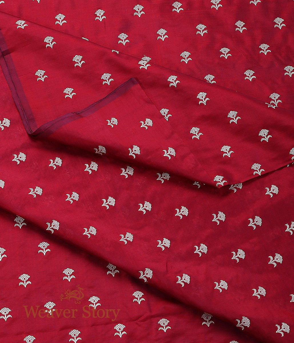 Handwoven Maroon Leaf Booti Fabric in Katan Silk