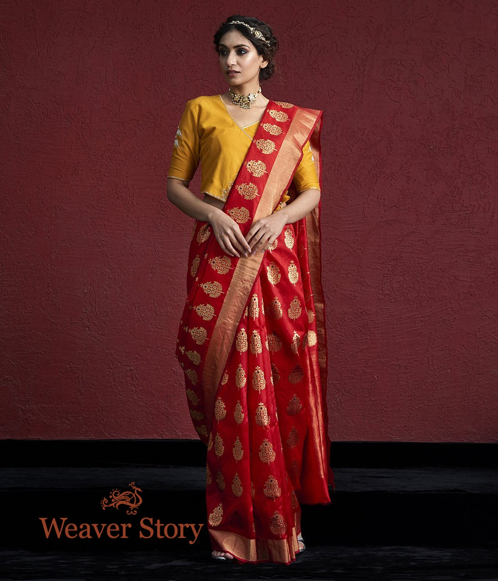 Handwoven Red Silk Chanderi Saree with Farheen Boota