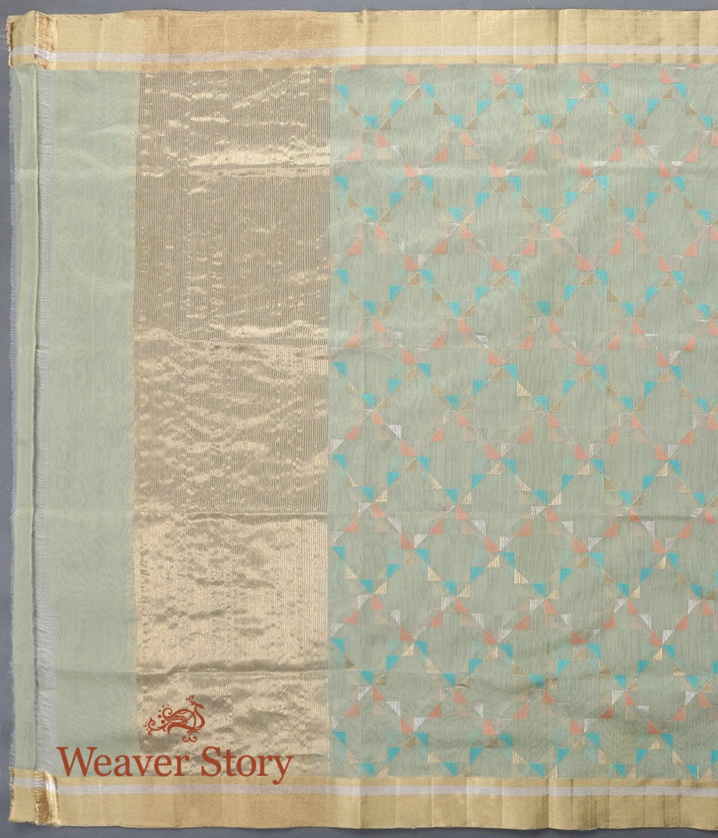 Handwoven Light Green Cotton Silk Chanderi Dupatta