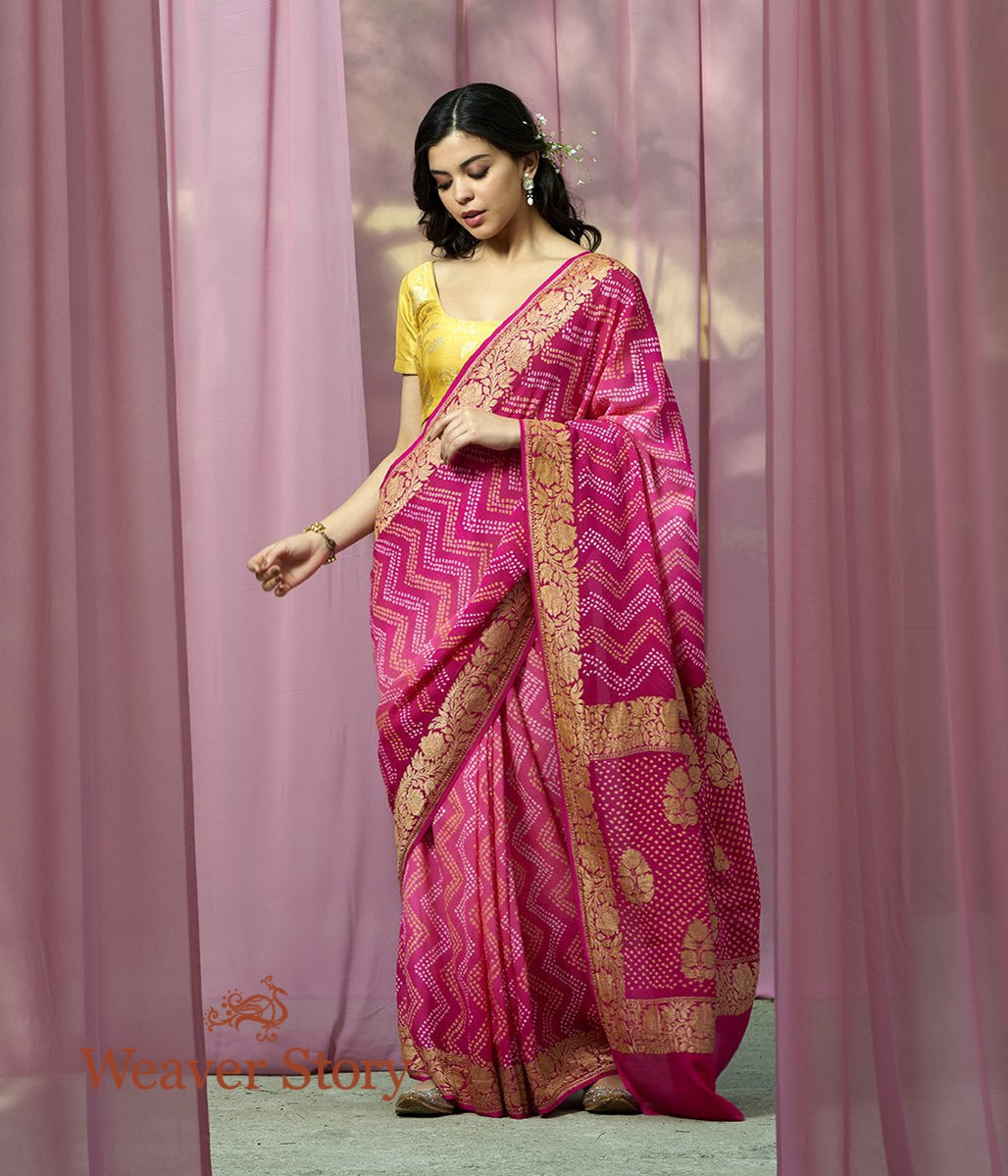 Handwoven Pink Shaded Banarasi Bandhej Saree