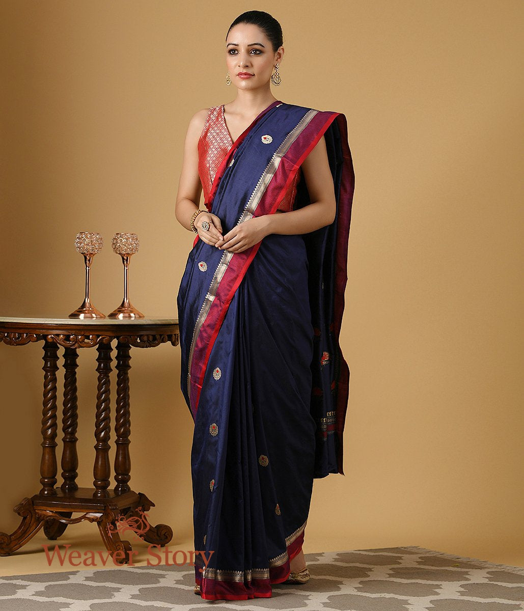 Handwoven Dark Blue Katan Silk Saree with Red Border and  Booti