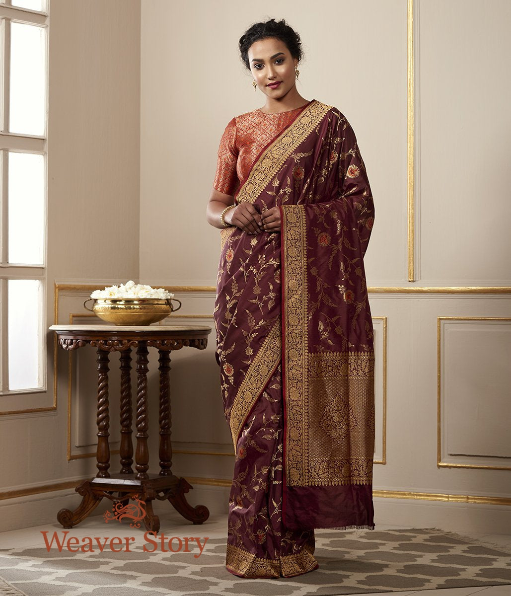 Handwoven Coffee Brown Cutwork Meenakari Jangla in Fine Katan Silk